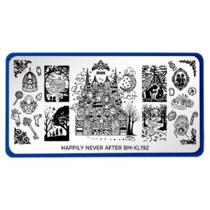 Bundle Monster XL Rectangular Nail Stamping Plate Happily Never After: Sweet Revenge (BM-XL192)