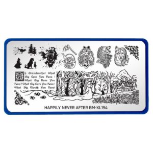 Bundle Monster XL Rectangular Nail Stamping Plate Happily Never After: Mouth of the Wolf (BM-XL194)