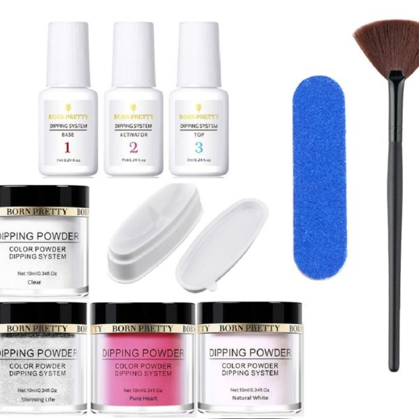 10-pcs-Born-Pretty-Dipping-System-Liquid-Powder-Base-Top-Activator-clear-white-glitter-red-Buffer-Dusting-Brush