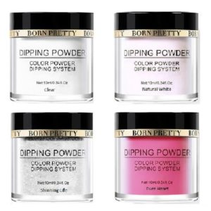 Born-Pretty-Dipping-System-Liquid-Powder-Red-clear-white-glitter